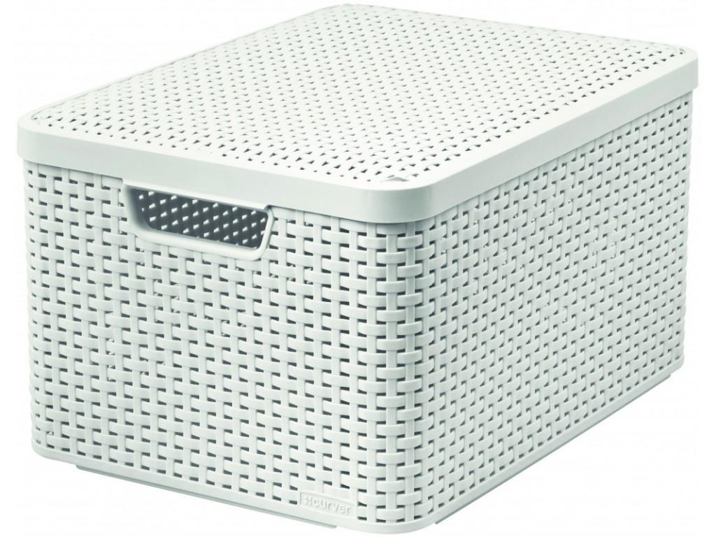 Box úložný s víkem STYLE L krémový