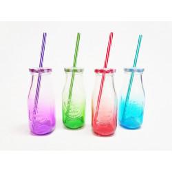Sklenice se slámkou 300ml mix barev