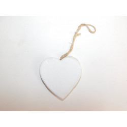 Dekorace srdce bílé 8cm