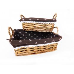 Košík hnědý obdelník 2ks Brownie