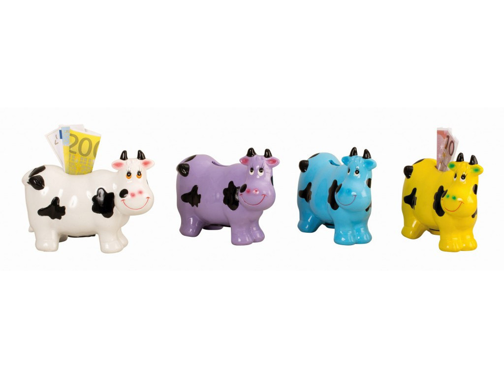 Pokladnička kráva 13cm mix barev