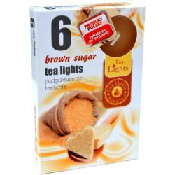 Svíčky čajové 6ks hnědý cukr