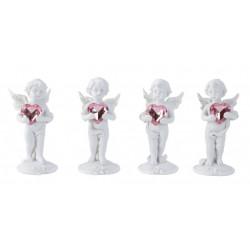 Anděl 11cm stojící s růžovým srdcem