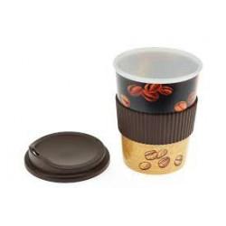 Pohár na kávu 4dcl Ekoline+víčko