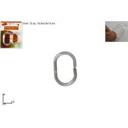 Kroužek závěs koupelnový ransparentní 12ks