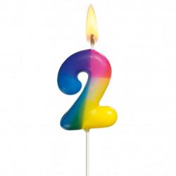 Svíčka číslice 2 barevná