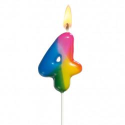 Svíčka číslice 4 barevná