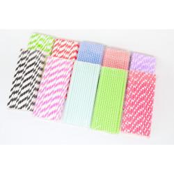 Slámky papírové 50ks různé barvy