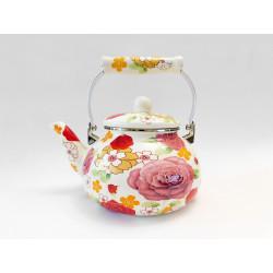 Čajník smalt 2,5L růže různé dekory