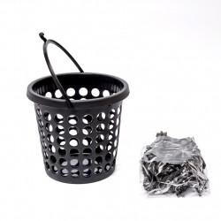 Košík+kolíčky 24ks černé