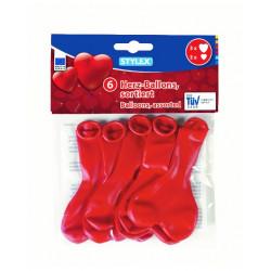 Balóny červené srdce 2 velikosti 6ks