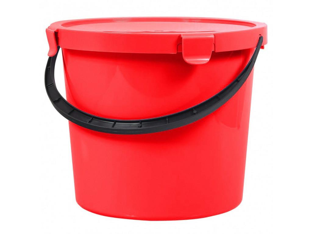 Vědro s víkem 5L plastové červené