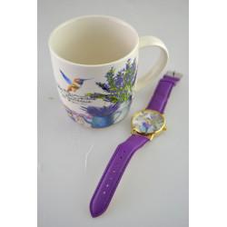 Hrnek + hodinky Levandule různé dekory